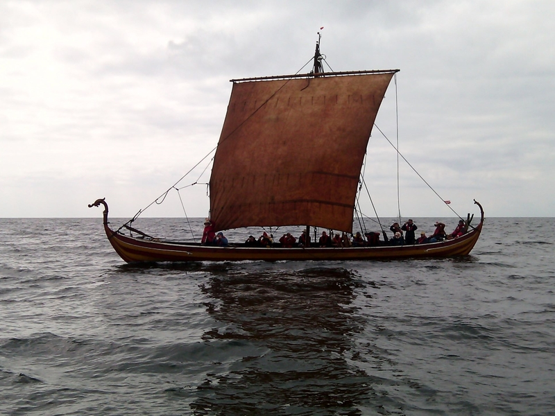 Reconstructed Viking Ship 'Helge Ask' photographed off the west coast of Sweden