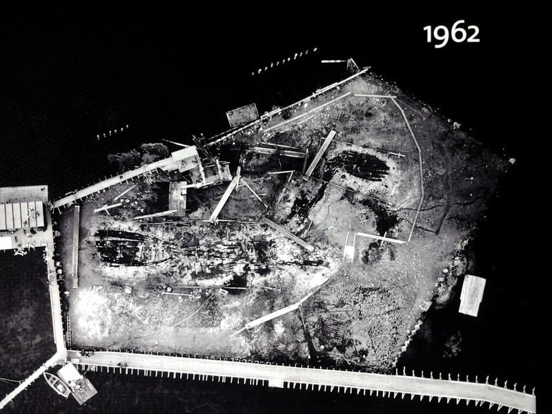 Aerial photograph of the Skuldelev excavations in the Roskilde Viking Ship Museum