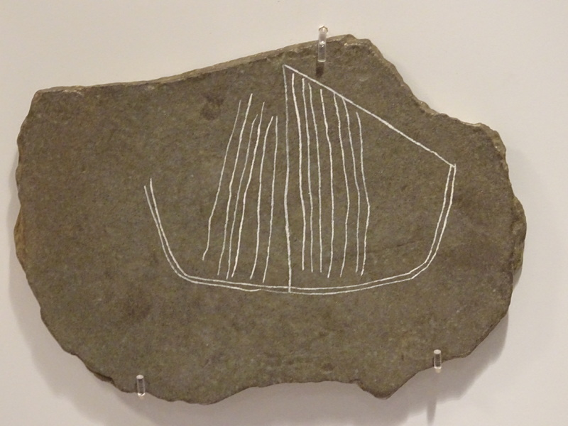 Replica of a drawing of a Viking ship from Jarlshof in Shetland Museum and Archives