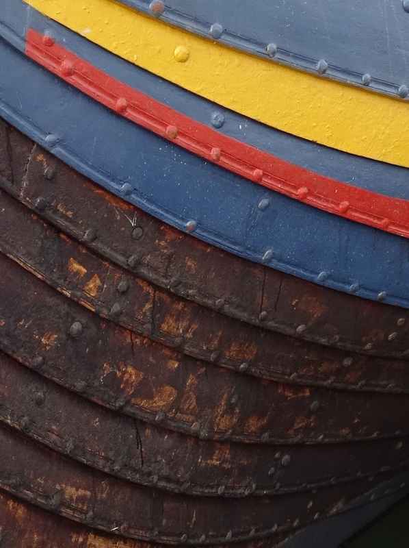 Detail of the clinker-built construction of the Sea Stallion reconstructed Viking ship
