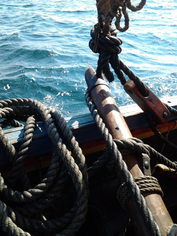 Photograph of the beitass (stretching pole) and tack on the Sea Stallion