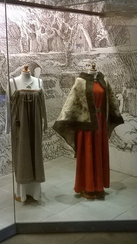 Reconstructed Viking dress on display in Trelleborg Museum