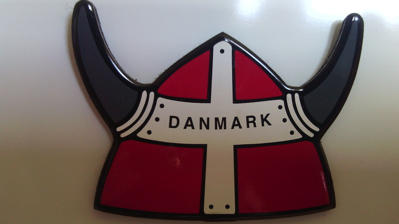 Danish souvenir magnet featuring a horned helmet