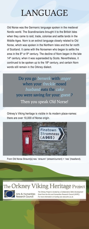 Information banners about Viking Heritage in Orkney