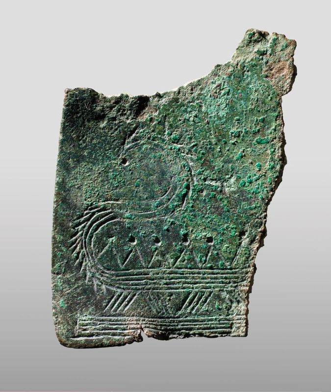 Fragment of razor with ship motif from Strærup in Nationalmuseet, Danmark