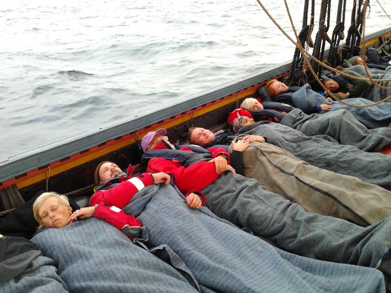 Sleeping arrangements on the Sea Stallion reconstructed Viking Ship