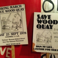 'Save Wood Quay' placards in Dublinia