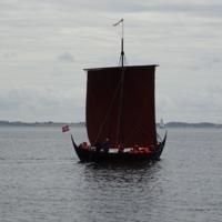 Reconstructed Viking Ship 'Freja Byrding' photographed near Lundeborg
