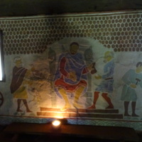 Mural in Ribe VikingCenter telling the history of the Vikings and Ribe