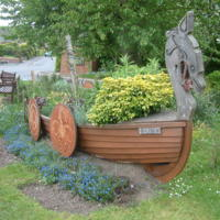 Viking ship planter, Stamford Bridge