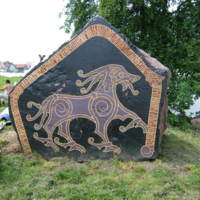 One of a pair of modern rune stones at the Jómsborg Viking camp in Wolin.