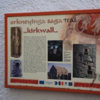 Orkneyinga saga trail information board, Kirkwall