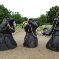 Representation of the Norns at the entrance to Ribe VikingCenter